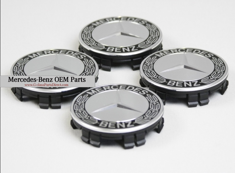 Mercedes benz set of black center wheel caps g for Center caps for mercedes benz wheels