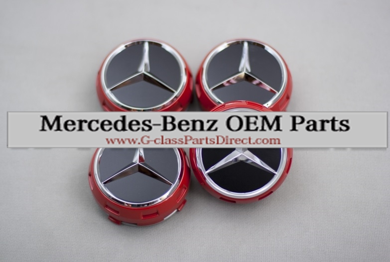 Mercedes benz set of red center wheel caps g for Mercedes benz parts direct
